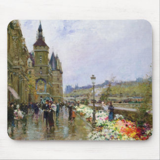 Flower Sellers by the Seine Mouse Pad