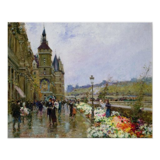 Flower Sellers by the Seine Print
