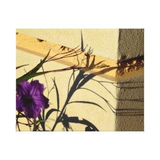 flower shadow on post purple mexican petunia canvas print