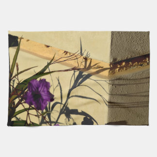 flower shadow on post purple mexican petunia kitchen towels