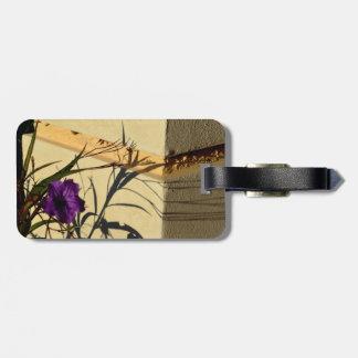 flower shadow on post purple mexican petunia luggage tag