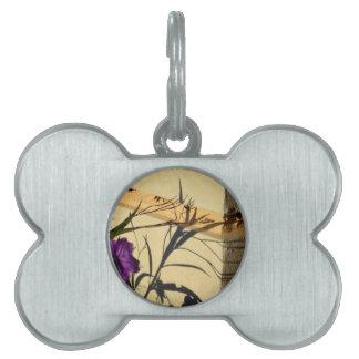 flower shadow on post purple mexican petunia pet ID tag