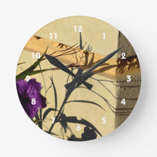 flower shadow on post purple mexican petunia round clock