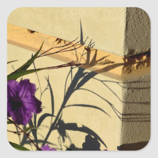 flower shadow on post purple mexican petunia sticker