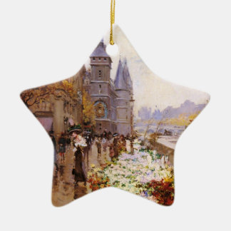 Flower shop of the Seine river paralleling Ceramic Ornament