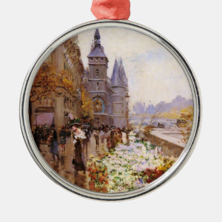 Flower shop of the Seine river paralleling Metal Ornament