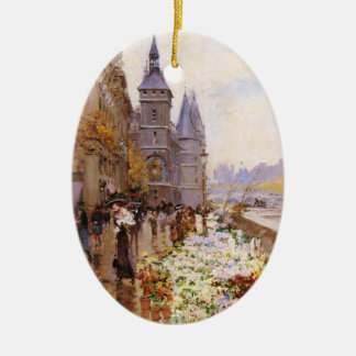 Flower shop of the Seine river paralleling Christmas Tree Ornament