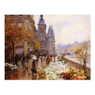Flower shop of the Seine river paralleling Postcard