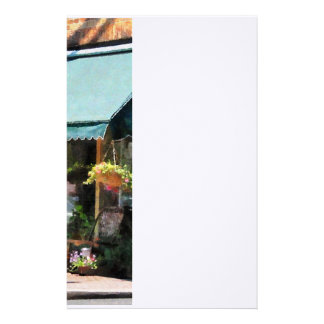 Flower Shop With Green Awning Customized Stationery