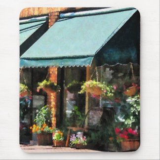 Flower Shop With Green Awnings Mouse Pad