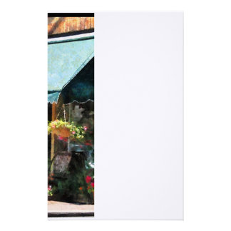 Flower Shop With Green Awnings Customized Stationery
