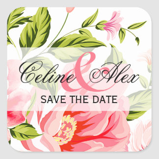 Flower Shower Bouquet Square Favor | baby pink Square Sticker