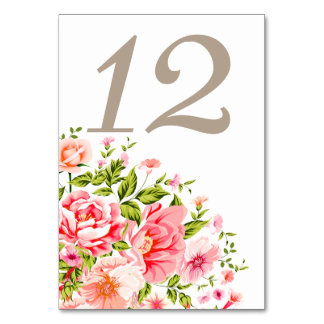 Flower Shower Bouquet Table Numbers   baby pink Card