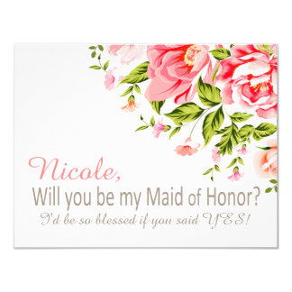 Flower Shower Will You Be My Maid of Honor?   pink Card