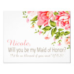 Flower Shower Will You Be My Maid of Honor? | pink 4.25x5.5 Paper Invitation Card