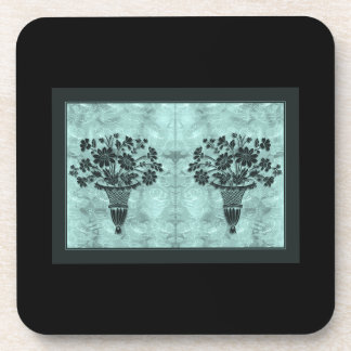 Flower Silhouettes Cyan Cork Coasters by Janz