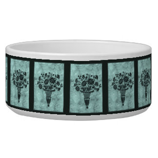 Flower Silhouettes Cyan Large Bowl by Janz