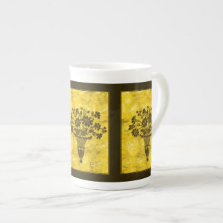 Flower Silhouettes Gold Bone China Mug by Janz Tea Cup