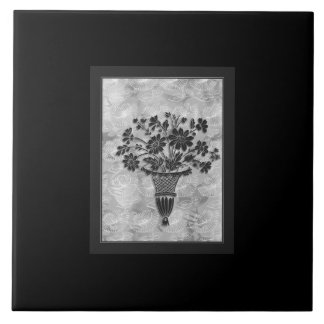 Flower Silhouettes Silver 6x6 Ceramic Tile by Janz