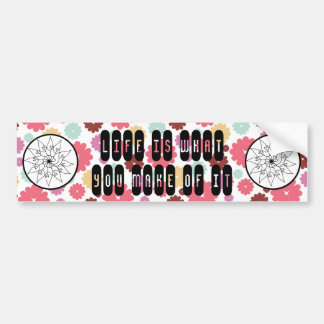 Flower Sketch Circle on PInk Purple Floral Pattern Bumper Stickers
