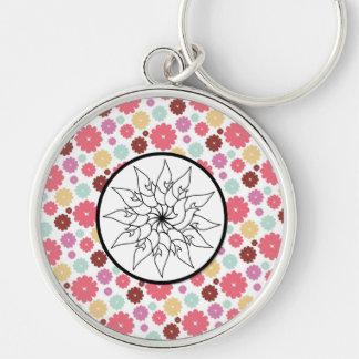 Flower Sketch Circle on PInk Purple Floral Pattern Keychain