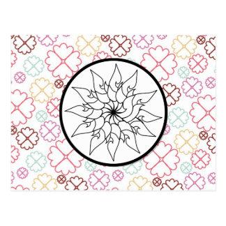 Flower Sketch Circle on PInk Purple Floral Pattern Postcard