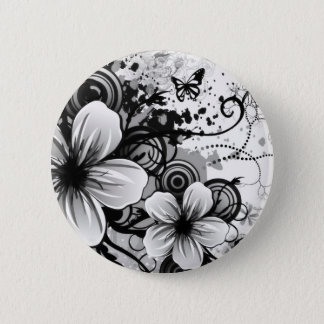 Flower Sketch Round Button