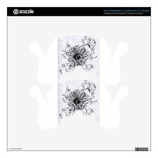Flower sketch skin for PS3 controller