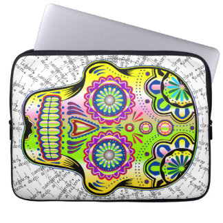 Flower skull 1 laptop computer sleeves
