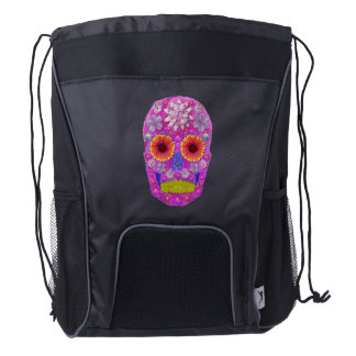 Flower Skull 2 Drawstring Backpack