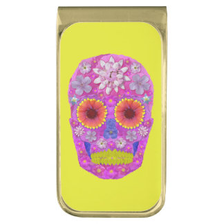 Flower Skull 2 Gold Finish Money Clip