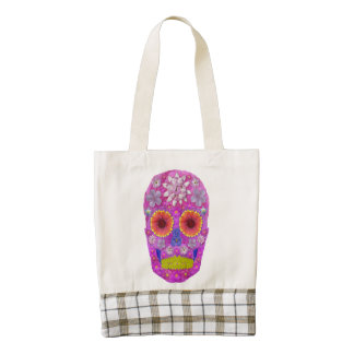 Flower Skull 2 Zazzle HEART Tote Bag