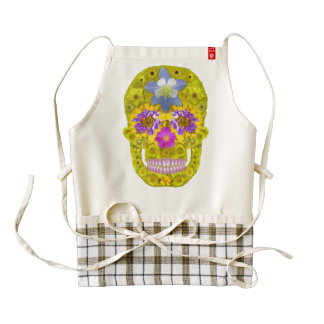 Flower Skull 3 Zazzle HEART Apron