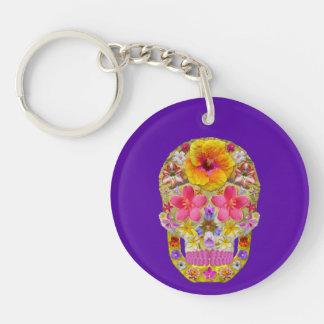 Flower Skull 4 - Tropical Keychain