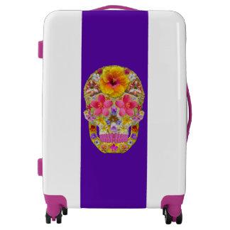 Flower Skull 4 - Tropical Luggage