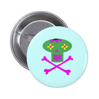 Flower Skull Button