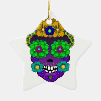 Flower Skull Ceramic Ornament