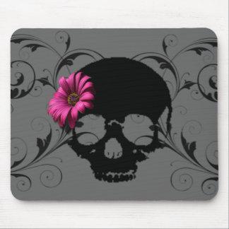 flower skull mouse pad