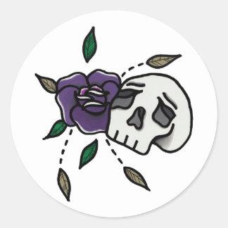Flower // Skull Stickers. Classic Round Sticker