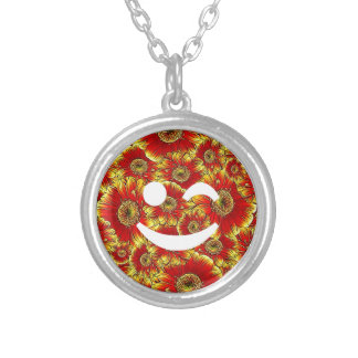 flower smiley,wink round pendant necklace