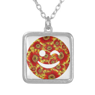 flower smiley,wink square pendant necklace