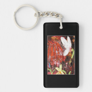 Flower, Snowdrop. Double-Sided Rectangular Acrylic Keychain