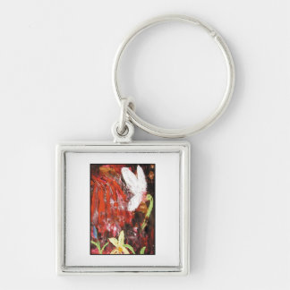 Flower, Snowdrop. Silver-Colored Square Keychain