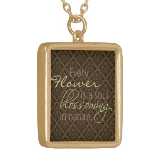 Flower Soul Blossoming Quote Necklace