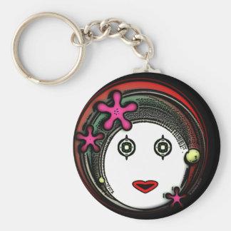Flower Space GIrl Basic Round Button Keychain