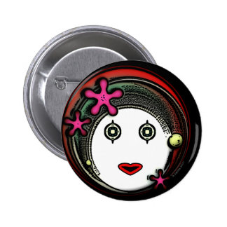 Flower Space GIrl Pinback Button