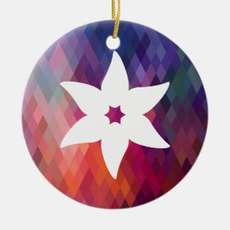 Flower Sperms Minimal Double-Sided Ceramic Round Christmas Ornament