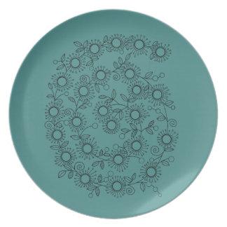 Flower Spiral Line Art Design Dinner Plate