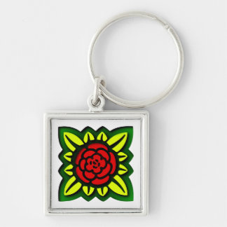 Flower square more flower square Silver-Colored square keychain