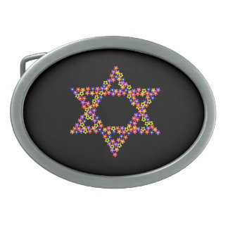 Flower Star of David Oval Belt Buckle